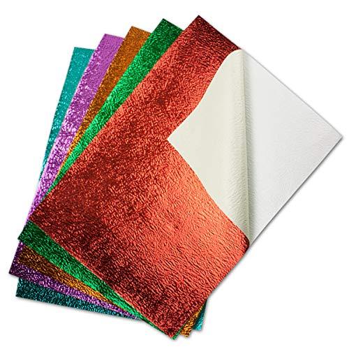 30x farbiges Metallic Bastelpapier - selbstklebend - geprägte Struktur - in hochwertiger Geschenkschachtel/Aufbewahrungsbox - je 6 Bätter Grün Rot Lila Türkis Orange