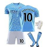 KCPERMAN 2020/21 Home Football Fans Jersey Adecuado para la Luna Azul # 17 de Bruyne # 10 Agüero # 7 Sterling Soccer Jersey, Camiseta Shorts Socks Rodiller #10-20