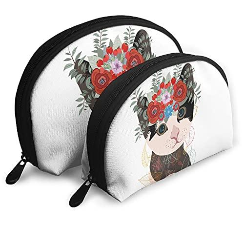Lovely Kitty Animal Merchandise Shell Bolsa de Almacenamiento de cosméticos Bolsa de Viaje Gato con Bolsa de Maquillaje Garland para Mujer niña