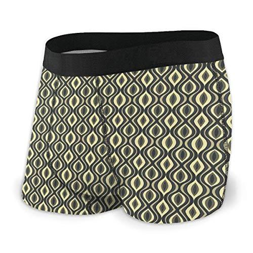 Herren Boxer Slips, Ethnic Wavy Vertical Old Fashion Zierfliesen Boho Design Größe L.