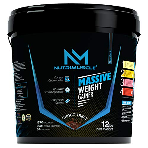 NUTRIMUSCLE MASSIVE WEIGHT GAINER - 12LBS - 5.44 KGS - CHOCO TREAT FLAVOUR - FOR WEIGHT GAIN - MADE IN INDIA