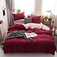 Damier - Juego de ropa de cama de 155 x 220 cm, color burdeos y rosa lisos, reversible, 2 piezas, 100% microfibra suave y cómoda, funda nórdica con cremallera y 1 funda de almohada de 80 x 80 cm