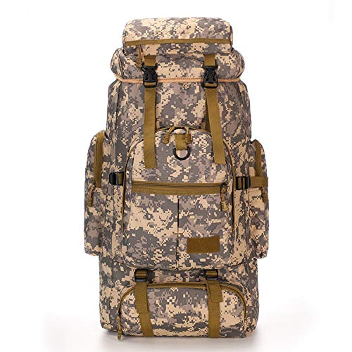 City Camouflage Bag 65L Large Hiking Backpack Tactical Camping Military Rucksack Patrol Pack for Outdoor Trekking Mountaineering Hunting