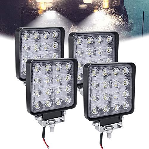 HENGMEI 48W LED Arbeitsscheinwerfer Reflektor Scheinwerfer Arbeitslicht LED Zusatzscheinwerfer Light Flutlicht für Offroad Agrar Traktor (4X48W,Quadrat)