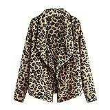 Gleamfut Womens Fuzzy Leopard Cardigan Winter Casual Long Sleeve Turndown Warm Tops Coat Yellow