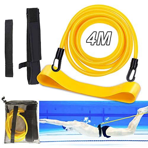 SPROUTER Cintura da Nuoto Regolabile, Cintura Resistente Elastica per Allenamento al Nuoto, Cintura di Resistenza al Nuoto Adulti Bambini, Cintura per Allenatore di Nuoto con Fascia Fitness,4M Giallo