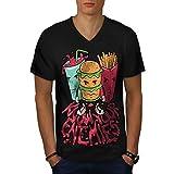 wellcoda giunca Burger Patatine Fritte Cibo Uomini T-Shirt con Scollo a V Dessin animé T-Shirt Grafica