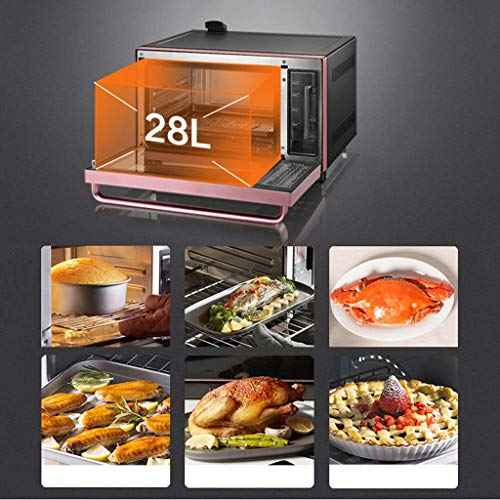 51Px+wn82SL - YXZQ 28L Mini-Ofen Haushalt Multifunktions-Dampfofen All-in-One 30 Arten von Menü-Timing Doppelschicht-Tür aus gehärtetem Glas 1,2 l Wassertank mit Zubehör 2050W