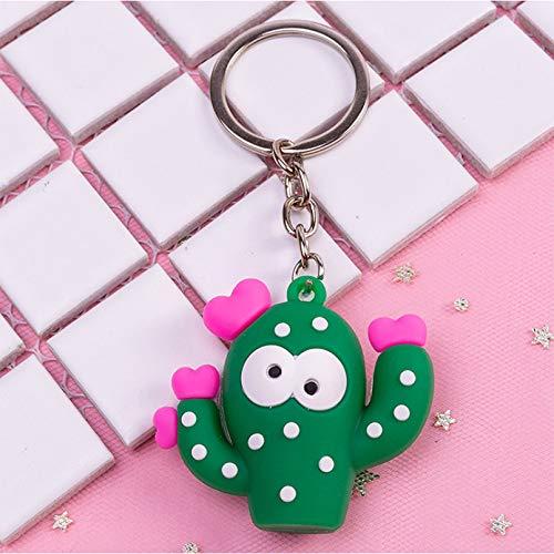 JLZK Llavero 3D Cactus Key Chain Ring para Mujer Bolsa Chica Teléfono Coche Llavero Regalos