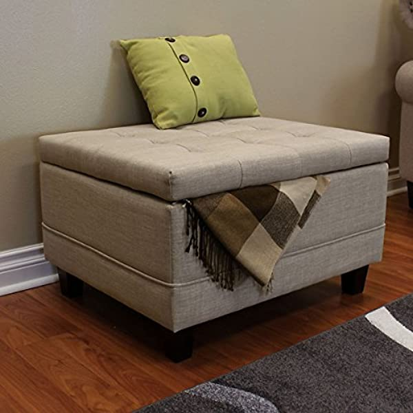 DonnieAnn Raymond Beige Wood 30 Inch Ottoman Made Of Fabric Wood Plywood Polyester