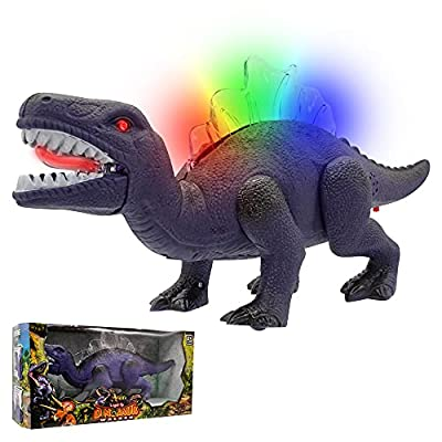 Windy City Novelties LED Light Up and Walking Realistic Dinosaur with Sound