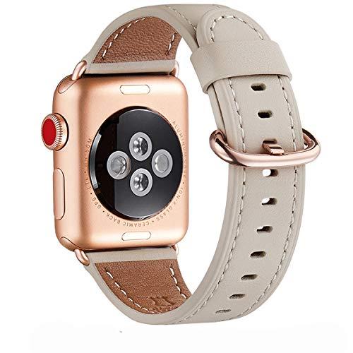WFEAGL Correa para Correa Apple Watch 42mm 44mm 38mm 40mm, Correa de Repuesto de Cuero Multicolor para iWatch Serie 5/4/3/2/1(38mm 40mm,Blanco Marfil/Oro Rosa)