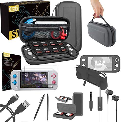ORZLY Kit Accessori per Nintendo Switch Lite - Include: Custodia e Pellicola Protettiva Switch Lite, Grip Case Cover, Cavo USB, Cuffie, e Altri Accessori Switch Lite - Rosso/Bianco