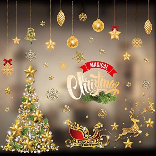 クリスマス ウォールステッカー ゴールド サンタ 壁紙シール スノーフレーク・雪だるま・トナカイ・クリスマスツリー 静電ステッカー 剥がせる 店舗装飾 窓ステッカー 部屋・窓 飾り Merry Christmas 特大サイズ(ゴルードステッカー)