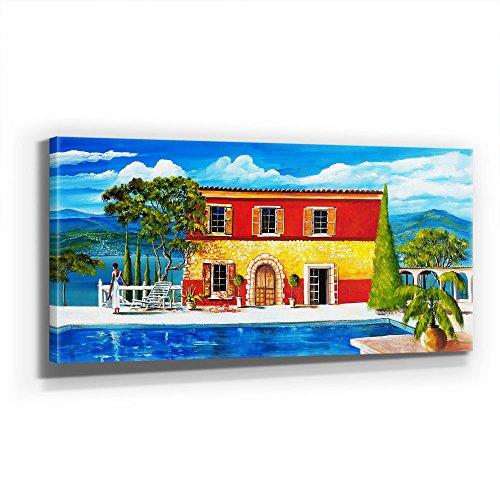 Mia Morro - Villa Spanien AM Meer 110x50cm XXL Bild - Kunst, Leinwand auf Echtholzrahmen aufgespannt, UV-stabil und wasserfest, modernes XXL Deko Bild FineArtPrint Wandbild