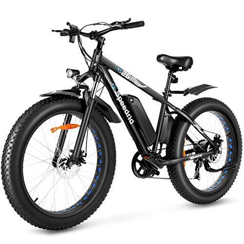 "Speedrid Electric Bike 48V 500W Fat Tire Electric Bike Snow Bike 26"" 4.0, 48V 10Ah Removable Battery and Professional 7 Speed"