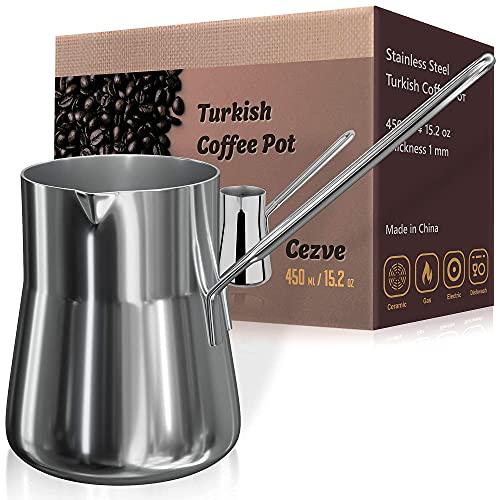 Turkish Coffee Pot, Warmer milk, Ibrik Cezve Arabic Briki Coffee Pot, Stainless Steel, 15 Ounce, Espresso Coffee Decanter