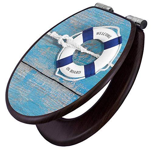 banjado Toilettensitz mit Absenkautomatik   WC-Sitz mit Motiv Blauer Rettungsring   Toilettendeckel MDF Holzkern   Klodeckel mit Metall Scharnieren