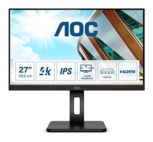 """AOC U27P2 - Monitor UHD da 27"""", regolabile in altezza (3840 x 2160, 60 Hz, HDMI, DisplayPort, hub USB), colore: Nero"""
