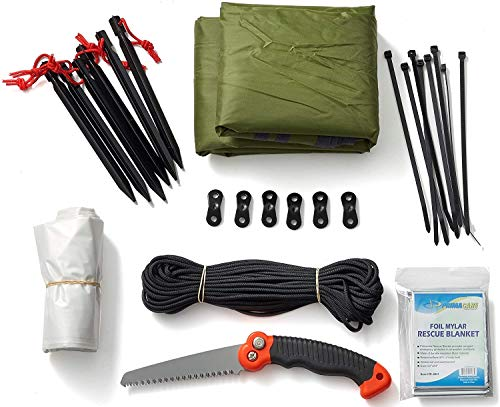 Off Grid Tools Shelter Kit, 22 Pieces – Shelter Building Kit, Resealable Waterproof Bag, Includes Survival Information Sheet, Tactical Gear & Accessories