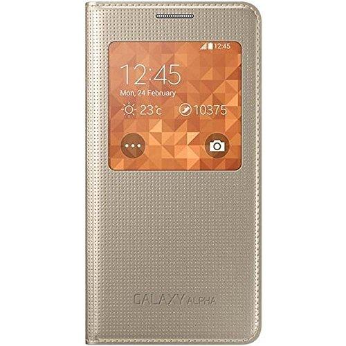 Samsung S-View Schutzhülle Flip Case Cover für Samsung Galaxy Alpha - Gold
