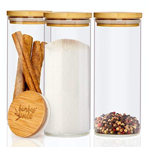 bambuswald© 3er Set Glasbehälter   Vorratsgläser mit luftdichten Deckel aus Bambus & 600ml - Aufbewahrungsglas ideal für Trockenfrüchte, Müsli & Pasta aus Borosilikatglas   Vorratsdosen