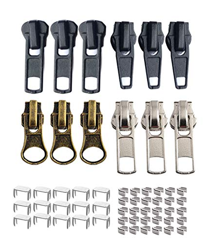 12 Pieces Zipper Slider Repair Kits #5 Black Bronze and Silver Zipper Sliders Zipper Pull Replacement for Metal Plastic and Nylon Coil Jacket Zippers.