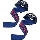 正規品 RDX リストストラップ トレーニング ウェイト リフティング プロシリーズ 筋トレ 滑り止めパッド付き 両手 セット 各色 (ブルー)