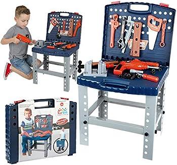 68-Piece ToyVelt Workbench W Realistic Tools & Electric Drill Toy