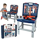 68 Piece Workbench W Realistic Tools & Electric Drill For Construction Workshop Tool Bench, Stem...