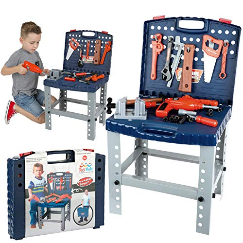 68 Piece Workbench W Realistic Tools & Electric Drill For Construction Workshop Tool Bench, Stem Educational Pretend Play, Toolbox Birthday Gift Toys For Boys & Girls Age 3, 4, 5, 6 Yrs - 12 Years Old