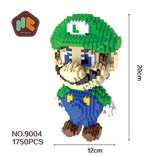 Figura Luigi Super Mario Bros Juego Bloques de construccion tamaño 20 cm DIY Mini Building Puzzle Juguete niños colección