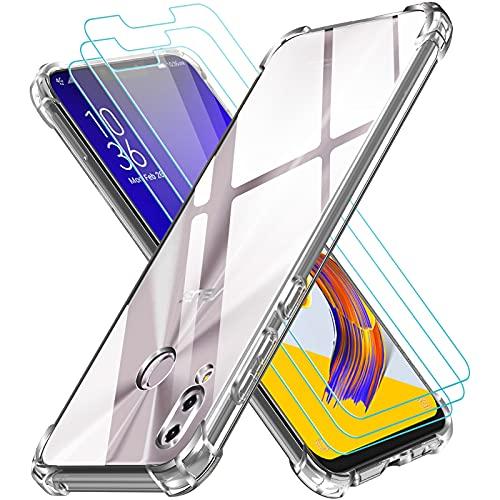 ivoler Coque pour ASUS Zenfone 5 ZE620KL / 5Z ZS620KL avec Pack de 3 Protection Écran en Verre Trempé, Transparent Étui de Protection en Silicone Antichoc, Mince Souple TPU Bumper Housse