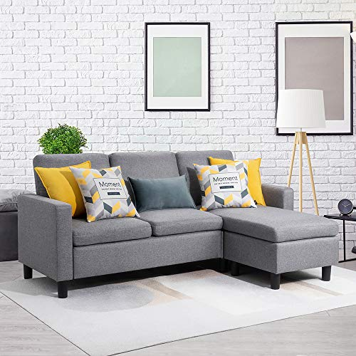 Walsunny Convertible Sectional Sofa Couch with Reversible Chaise, L-Shaped Couch with Modern Linen Fabric for Small Space (Grey)