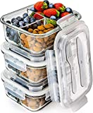 Prep Naturals Glass Meal Prep Containers 3 Compartment - Bento Box Containers Glass Food Storage...