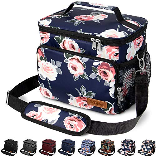 Insulated Lunch Bag for Women/Men - Reusable Lunch Box for Office Work School Picnic Beach - Leakproof Cooler Tote Bag Freezable Lunch Bag with Adjustable Shoulder Strap for Kids/Adult - Romantic Rose
