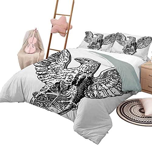 Tagesdecke Bettdecke Set Vintage Luxe Bettwäsche 3 Stück übergroße gesteppte Tagesdecke Bettdecke Set Italienische Rom Heraldik Adler Statue Muster Europäisches Reich Erbe Kultur Druck in voller Größe