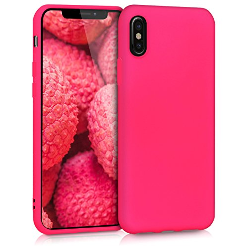 kwmobile Hülle kompatibel mit Apple iPhone X - Hülle Silikon - Soft Handyhülle - Handy Hülle in Neon Pink