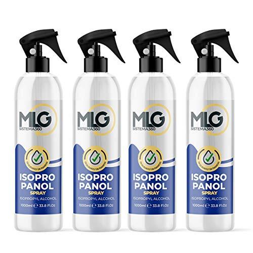 Pack 4 x Isopropílico 99,9% 1000ml con Spray | Alcohol IPA de Limpieza | Ideal para limpieza de componentes electrónicos 1 Litro