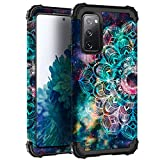 Hocase Galaxy S20 FE 5G Case, Heavy Duty Shockproof Protection Soft Silicone Rubber+Hard Plastic Bumper Hybrid Protective Case for Samsung Galaxy S20 FE (6.5' Display) 2020 - Mandala in Galaxy