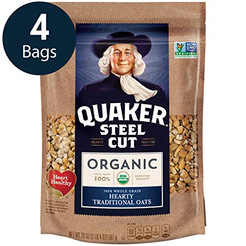 Quaker Steel Cut Oats, USDA Organic, Non GMO Project Verified, 24oz Resealable Bags
