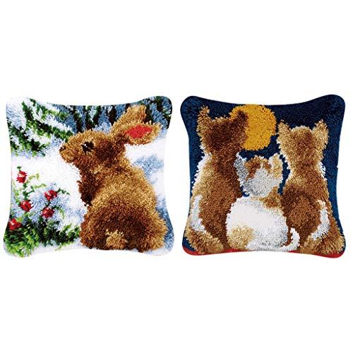 perfk 2 set kanin & kattunge mönster spärr krok kudde kit broderi material paket, handhantverk, lätt att följa