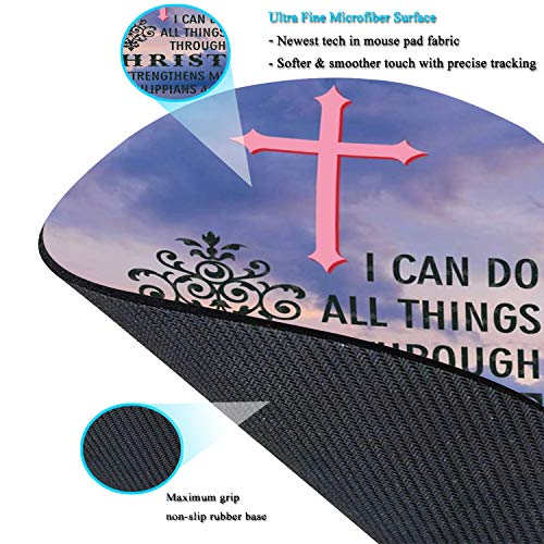 Mouse Pad and Coaster Set, Christian Bible Verses Philippians 4:13 Mouse Pad Round Non-Slip Rubber Mousepad Office Accessories Desk Decor Mouse Mat for Desktops Computer Laptops Photo #5