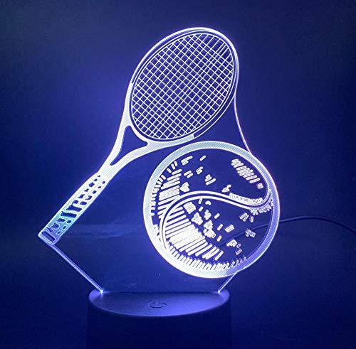 fczka 3D-Lampe Übung Tennisschläger Farbwechsel Einzigartiges Geschenk für Kinder Led Nachtlichtlampe für Innendekoration