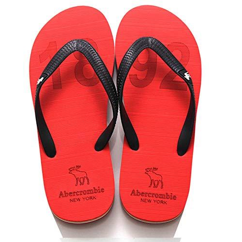 SUNXC Sandals For Men Zapatos de Playa y piscinaZapatillas de Playa de Goma Antideslizantes-Rojo 1_40Sandalias Impermeables para Ducha De Punta Abierta Interior De Verano Al Aire Libre