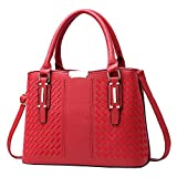 Weitine Leather Women's Bag Top Handle Satchel Handbags Tote Purse Commuting Bag with Shoulder Straps for Office/Working (red)