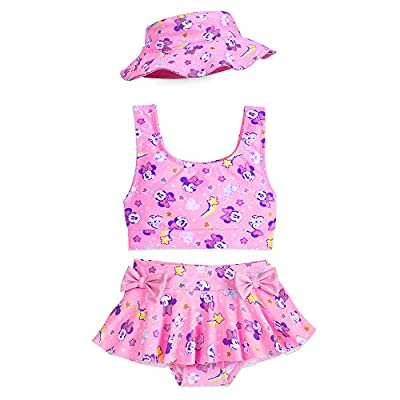 Disney Minnie Mouse Pink Deluxe Swimsuit Set for Girls- Size 4