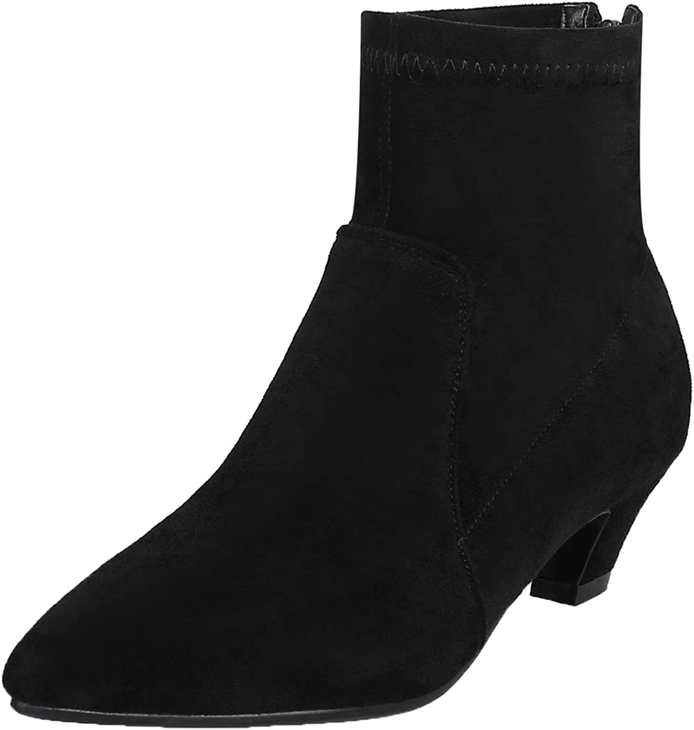 Vitalo Womens Low Heel Pointed Toe Ankle Boots Zip Up Faux Suede Short Booties