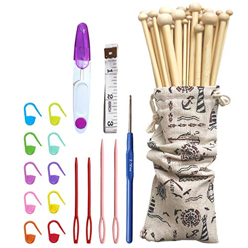 36本編み針棒針かぎ棒竹製編み棒手あみ針くつした針 25cm長玉付18サイズ棒針セット 巻尺、ハサミ、段数マーカー、とじ針、レース針、収納ケース付