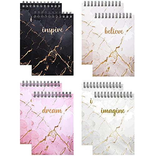 8 Paquetes de Mini Blocs de Notas de Mármol Cuaderno de Espiral Superior con Cita de Inspiración y Mármol Bloc de Notas Motivacional Bloc de Notas en Espiral de Diario de Bolsillo Pequeño